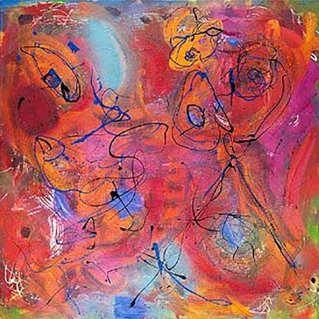 """Sim-Sala-Bim"", 1996 mixed media op doek, 125 x 125 cm"