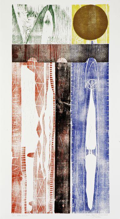 Full Moon, 2003, houtsnede/collage opl. 8 , beeldformaat 37/80, papierformaat 46/89 cm